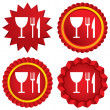 Stock Vector: Eat sign icon. Knife, fork and wineglass.