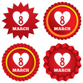 8 March Women's Day sign icon. Heart symbol. — Stock Vector