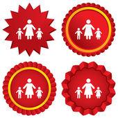 En förälder familj med två barn tecken ikonen. — Stockvektor