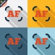 Autofocus photo camera sign icon. AF Settings. — Stock Photo
