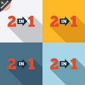 Twee in één teken pictogram. 2 in 1 symbool met pijl. — Stockfoto