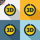 Icône 3d de signe. nouveau symbole de la technologie 3d. — Photo