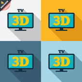 3D TV sign icon. 3D Television set symbol. — Stock Photo