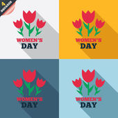 8 March Women's Day sign icon. Flowers symbol. — Zdjęcie stockowe