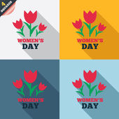8 March Women's Day sign icon. Flowers symbol. — Foto de Stock