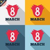 8 mars : icône de signe pour le jour de la femme. symbole de la fleur. — Photo