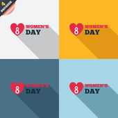 8 March Women's Day sign icon. Heart symbol. — Stockfoto