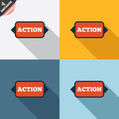 Action sign icon. Motivation button with arrow. — Stockfoto