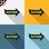 Action sign icon. Motivation button with arrow. — Foto de Stock