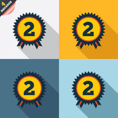 Second place award sign icon. Prize for winner. — Stockfoto