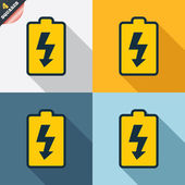 Battery charging sign icon. Lightning symbol. — Stock Photo