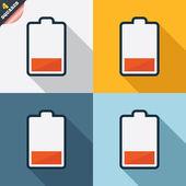 значок батареи низкий уровень входа. символ электричество — Стоковое фото