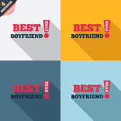 Best boyfriend ever sign icon. Award symbol. — Zdjęcie stockowe