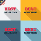 Best girlfriend sign icon. Award symbol. — Zdjęcie stockowe