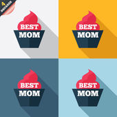 Best mom sign icon. Muffin food symbol. — Foto de Stock