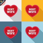 лучшая жена знак значок. символ любви сердце. — Стоковое фото