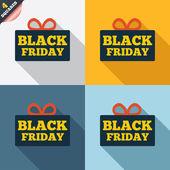 черная пятница подарок знак значок. продажа символ. — Стоковое фото