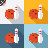 Bowling game sign icon. Ball with pin skittle. — Stockfoto