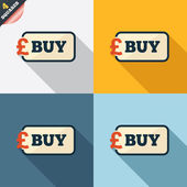 Buy sign icon. Online buying Pound button. — Foto de Stock