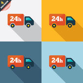 24 hours delivery service. Cargo truck symbol. — Foto Stock