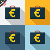 Case with Euro EUR sign. Briefcase button. — Zdjęcie stockowe