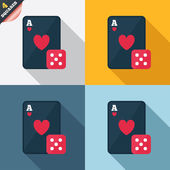 Casino sign icon. Playing card with dice symbol — Stockfoto