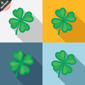 Clover with four leaves sign. St. Patrick symbol — Photo