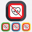 Not overwork. Heartbeat sign icon. Cardiogram. — Stock Vector #42417505