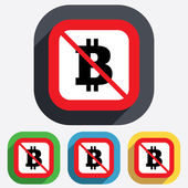 No Bitcoin sign icon. Cryptography currency symbol — Stock Vector