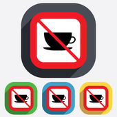 No Coffee cup sign icon. Coffee button. — Stock Vector