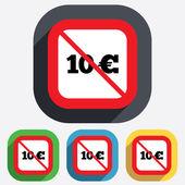 いいえ 10 ユーロ記号アイコン。ユーロ通貨記号. — ストックベクタ