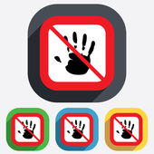 Do not touch. Hand print sign icon. Stop symbol. — Wektor stockowy