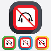 No Headphones sign icon. Earphones button. — Vetor de Stock