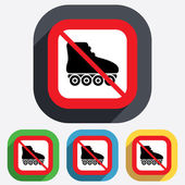 No Roller skates sign icon. Rollerblades symbol. — Stock Vector