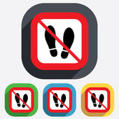 Do not stay. Imprint shoes sign icon. Shoe print — Stockvektor