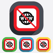 No internet. WWW sign icon. World wide web. — Stock Vector