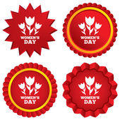 8 March Women's Day sign icon. Flowers symbol. — Stock Photo
