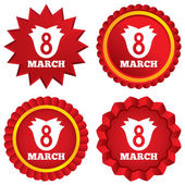 8 March Women's Day sign icon. Flower symbol. — Stock Photo