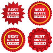 Best sister ever sign icon. Award symbol. — Stock Photo