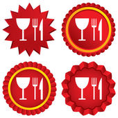 Eat sign icon. Knife, fork and wineglass. — Stock Photo