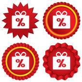 Gift box sign discount icon. Present symbol. — Stock Photo
