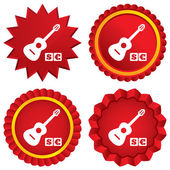 Acoustic guitar sign icon. Paid music symbol. — Stock Photo