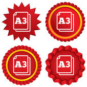 Paper size A3 standard icon. Document symbol. — Stock Photo