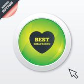 Best girlfriend sign icon. Heart love symbol. — Vector de stock