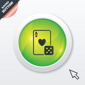Casino sign icon. Playing card with dice symbol — ストックベクタ