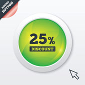 25 percent discount sign icon. Sale symbol. — Vector de stock