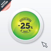 25 percent discount sign icon. Sale symbol. — ストックベクタ