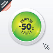 50 percent discount sign icon. Sale symbol. — Vector de stock