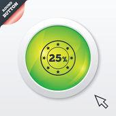 25 percent discount sign icon. Sale symbol. — Vector de stock