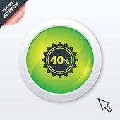 40 percent discount sign icon. Sale symbol. — Vector de stock